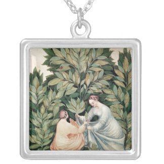 Two women picking sage, from 'Tacuinum Silver Plated Necklace