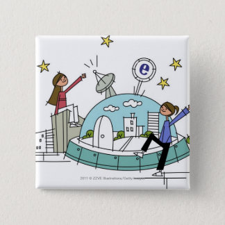 Two women sitting on top of a city 15 cm square badge