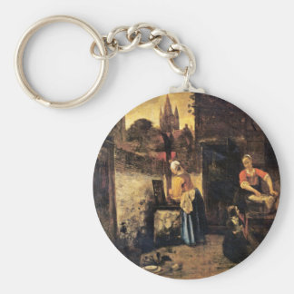 Two Women With A Child In The Yard By Pieter De Ho Keychain