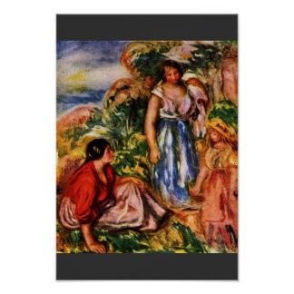 Two Women With A Young Girl In A Landscape Print