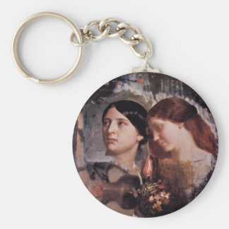 Two Women With Flowers Oval Keychain