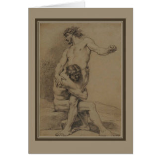 Two Wrestlers by de Platte-Montagne Card