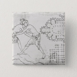 Two wrestlers, plan of a Cistercian church 15 Cm Square Badge