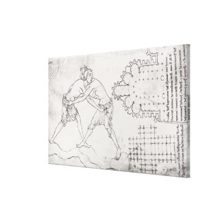Two wrestlers, plan of a Cistercian church Canvas Print