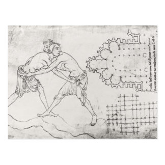 Two wrestlers, plan of a Cistercian church Postcard