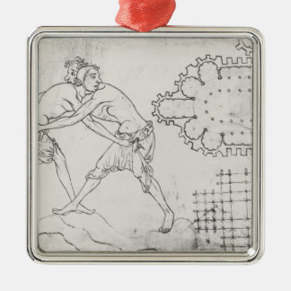 Two wrestlers, plan of a Cistercian church Silver-Colored Square Decoration