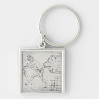 Two wrestlers, plan of a Cistercian church Silver-Colored Square Key Ring