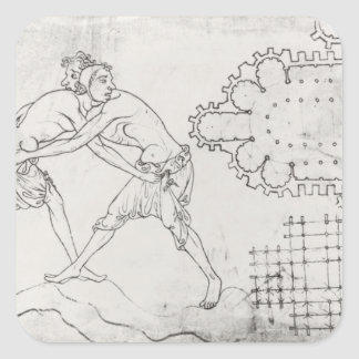 Two wrestlers, plan of a Cistercian church Square Sticker