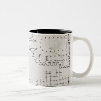 Two wrestlers, plan of a Cistercian church Two-Tone Coffee Mug