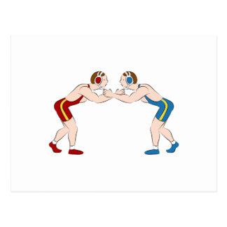Two Wrestlers Postcard