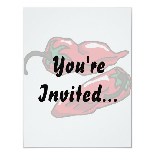 Two Wrinkled Red Peppers  Stems Graphic 11 Cm X 14 Cm Invitation Card