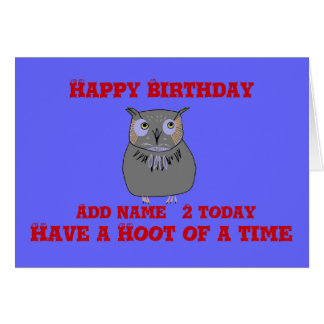 Two year old, blue, Hooty Owl Birthday Greeting Card