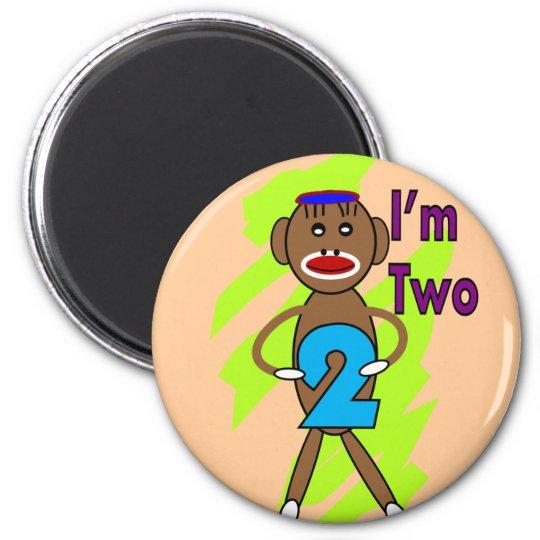 Two yeart Old Kids Birthday--Sock Monkey Design 6 Cm Round Magnet
