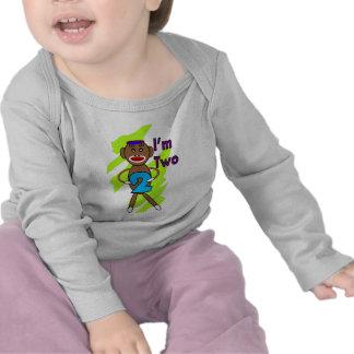 Two yeart Old Kids Birthday--Sock Monkey Design Tee Shirts