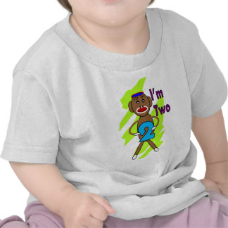 Two yeart Old Kids Birthday--Sock Monkey Design Tees