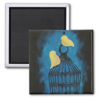 Two Yellow Birds Outside Birdcage Magnet