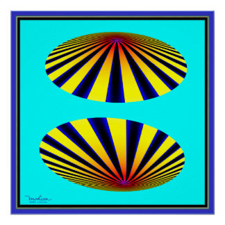 Two Yellow Blue Flying Objects Poster