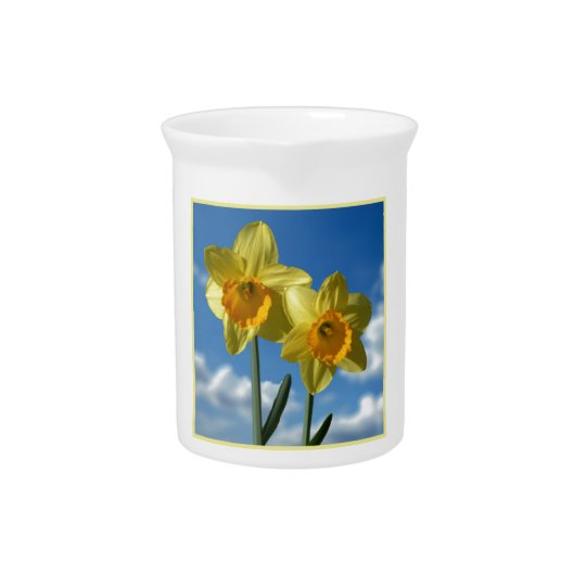 Two yellow Daffodils 2.2 Beverage Pitchers