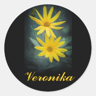 Two yellow flowers of Jerusalem artichoke. Classic Round Sticker