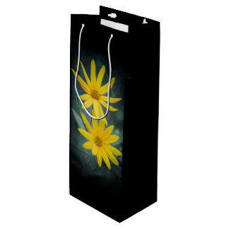 Two yellow flowers of Jerusalem artichoke. Wine Gift Bag