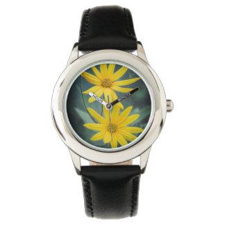 Two yellow flowers of Jerusalem artichoke Wristwatches