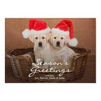 Two Yellow Lab Christmas Puppies 13 Cm X 18 Cm Invitation Card