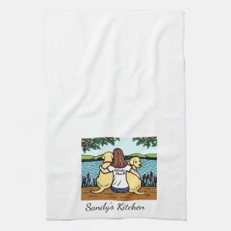 Two Yellow Labradors and Mom Kitchen Towel
