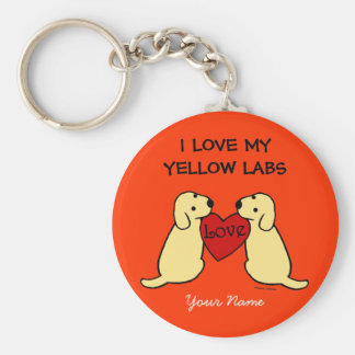 Two Yellow Labradors with Love Cartoon Key Chains