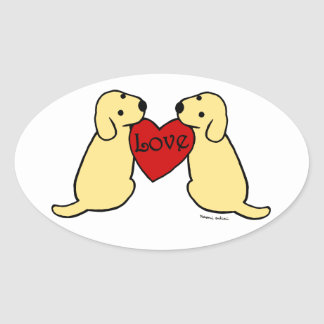 Two Yellow Labradors with Love Cartoon Oval Oval Sticker