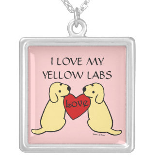 Two Yellow Labradors with Love Cartoon Silver Plated Necklace