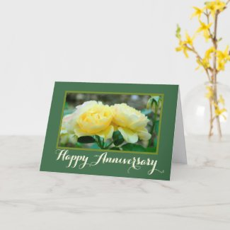 TWO YELLOW ROSES/HAPPY ANNIVERSARY CARD