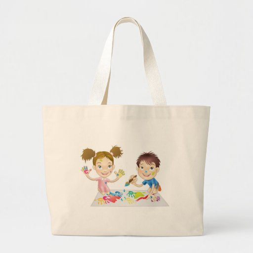 two young children playing with paints canvas bags