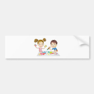 two young children playing with paints bumper sticker