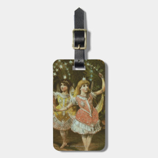 Two young girls perform ballet luggage tag