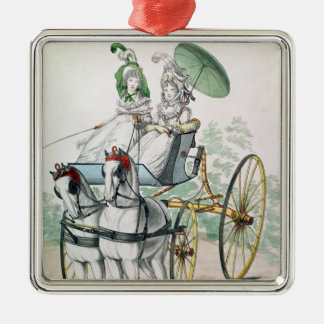 Two young ladies in calico gowns christmas ornament