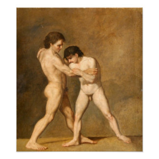 Two Young Men Fighting Poster