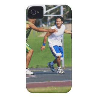 Two young men playing basketball iPhone 4 case