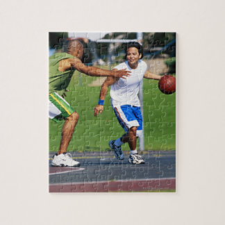 Two young men playing basketball jigsaw puzzle