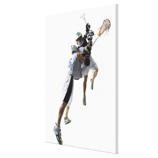 Two young men playing lacrosse 2 canvas print