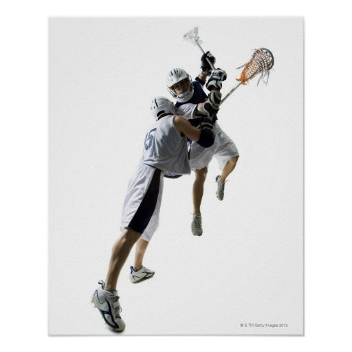 Two young men playing lacrosse 2 poster