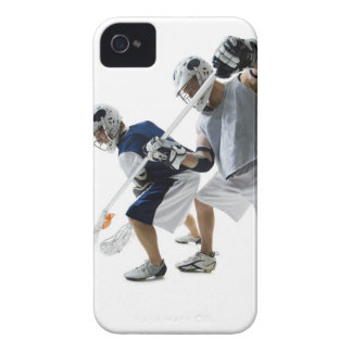 Two young men playing lacrosse iPhone 4 case