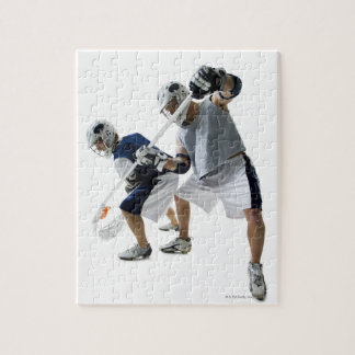 Two young men playing lacrosse jigsaw puzzle