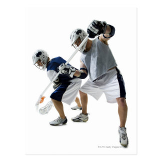 Two young men playing lacrosse postcard