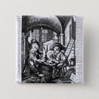 Two Young Noblemen Smoking, A Pro-Smoking 15 Cm Square Badge