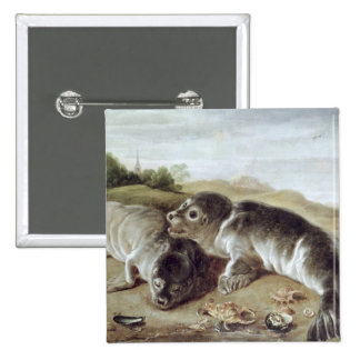 Two Young Seals on the Shore, c.1650 15 Cm Square Badge
