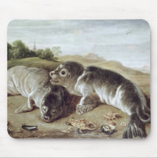 Two Young Seals on the Shore, c.1650 Mouse Mat