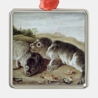 Two Young Seals on the Shore, c.1650 Silver-Colored Square Decoration