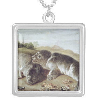 Two Young Seals on the Shore, c.1650 Silver Plated Necklace