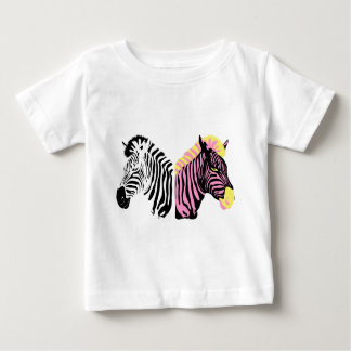 Two zebras - Black and White and Pink Baby T-Shirt