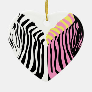 Two zebras - Black and White and Pink Ceramic Heart Decoration